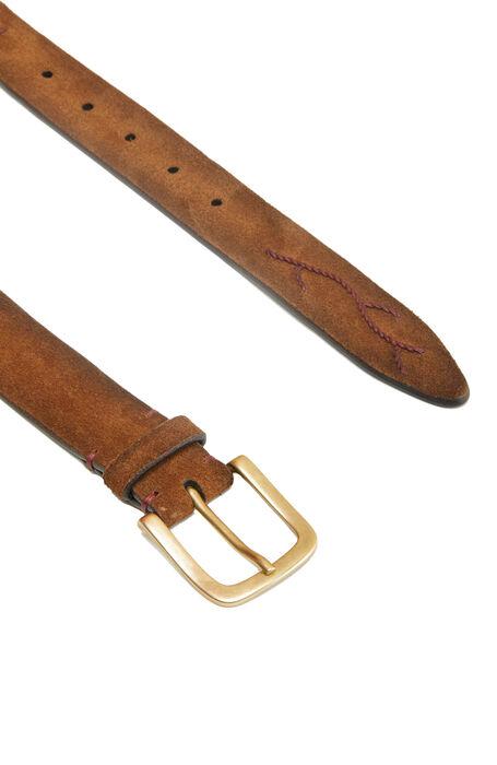 Belt in suede calfskin leather with embroidery , Officina Slowear | Slowear