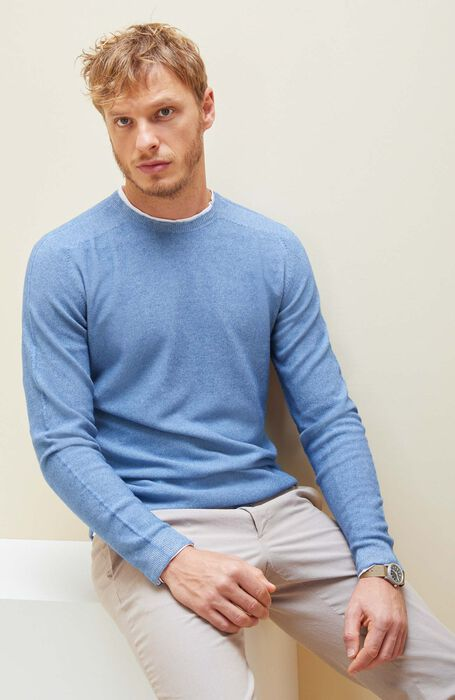 Reversible Crew-neck in cotton, viscose and cashmere, air force blue colour , Zanone | Slowear