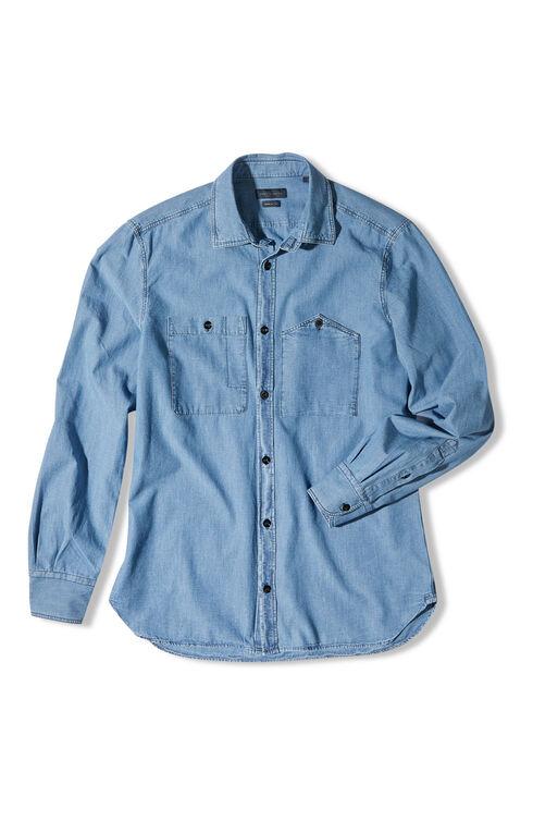 Slim-fit shirt with classic collar in chambray cotton , Indigochino | Slowear