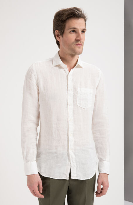 80a8265fb23f White Slim Fit Garment-Dyed Natural Linen Shirt with Classic Collar ,  Glanshirt | Slowear