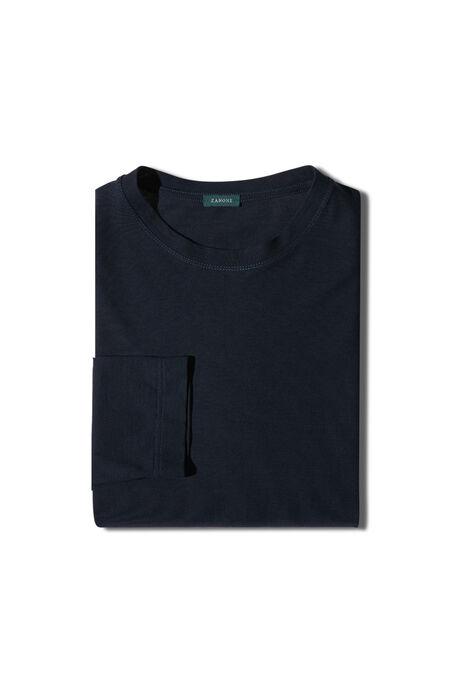 Dark blue long-sleeved Ice Cotton T-shirt , Zanone | Slowear