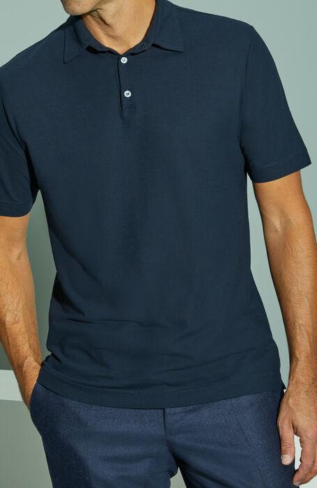 Dark blue short-sleeved Ice Cotton polo shirt , ZANONE Icecotton | Slowear