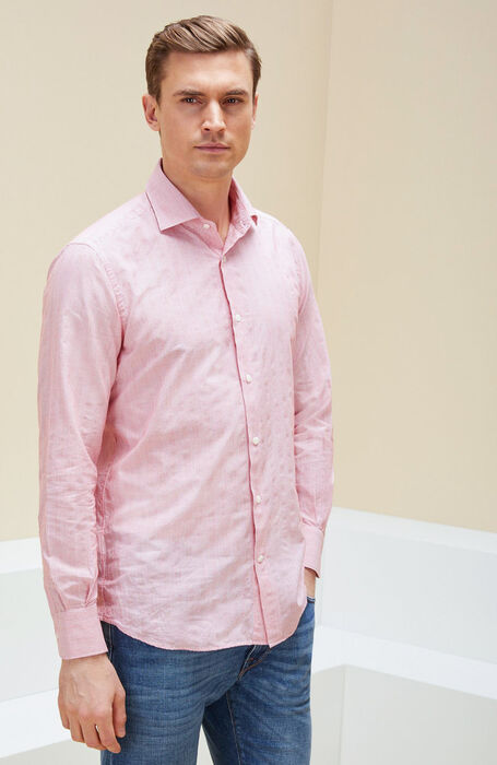 Slim fit striped cotton shirt with French collar , Glanshirt | Slowear