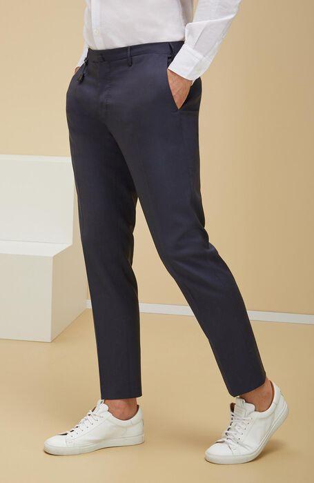 Pantalone slim fit in lana tropical blu , Incotex - Venezia 1951 | Slowear