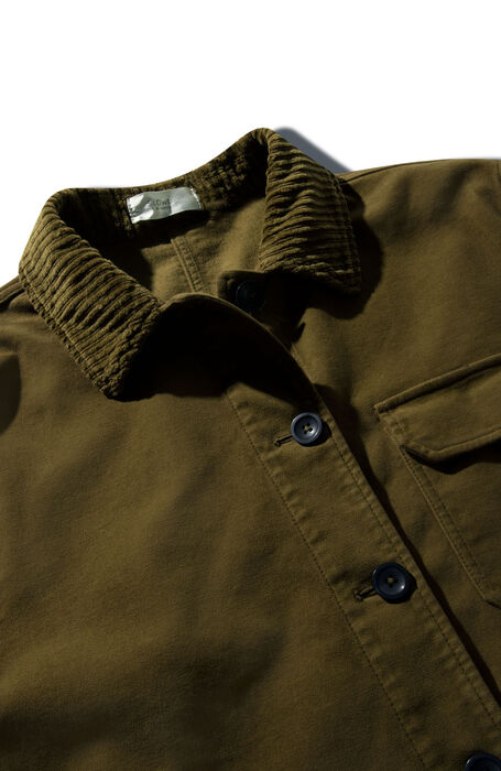 Stretch moleskin unlined jacket with military green French corduroy details , Montedoro | Slowear