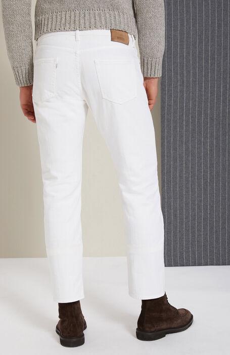 White slim-fit trousers in cotton bull , Incotex - Cinque Tasche | Slowear