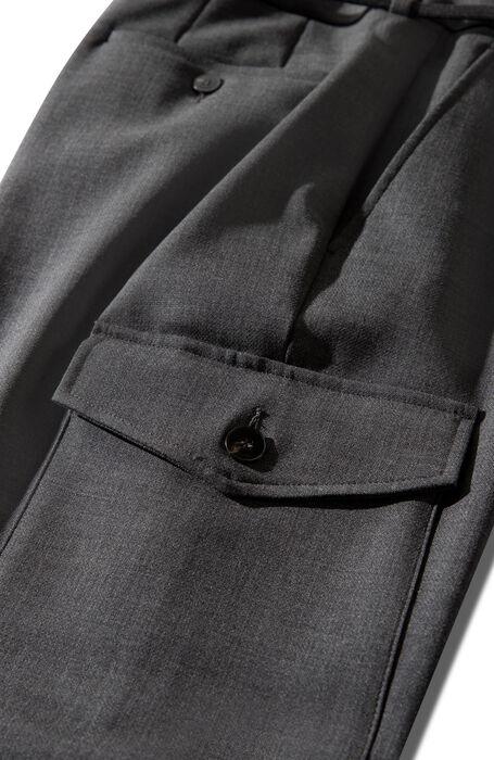Regular fit cargo trousers in grey, two-way stretch wool , Incotex | Slowear