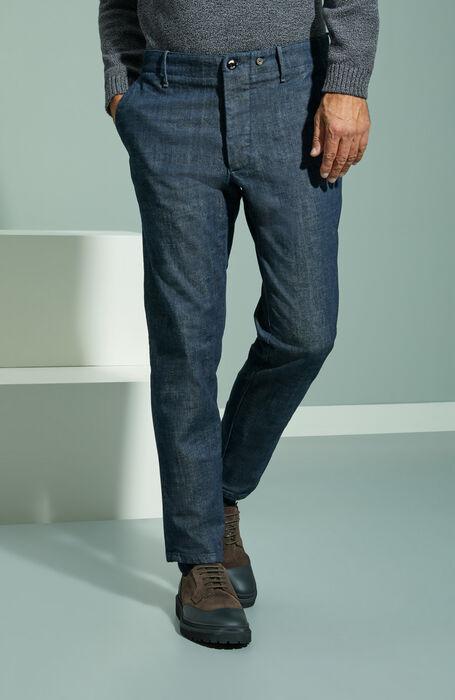 Slim fit blue stretch denim trousers , Indigochino   Slowear
