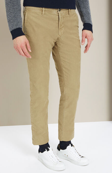 Slim-fit beige stretch Tricochino trousers , Incotex - Slacks | Slowear