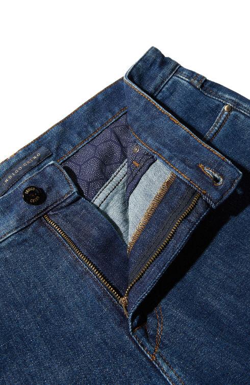 Regular fit five-pocket stretch cotton trousers , Indigochino | Slowear