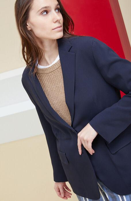 Unlined blazer with internal drawstring in blue cady , Montedoro | Slowear