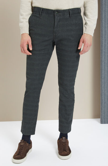 Slim Fit Green Stretch Prince Of Wales Cotton Trousers