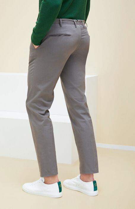 Grey Royal Batavia stretch cotton slim fit trousers , Incotex - Venezia 1951 | Slowear