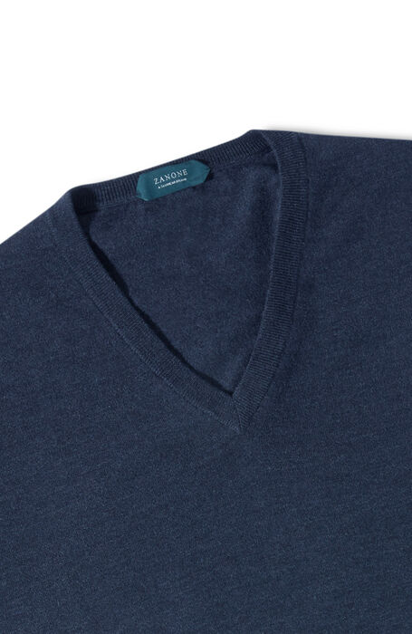 Blue melange Flexwool V-neck sweater , Zanone | Slowear
