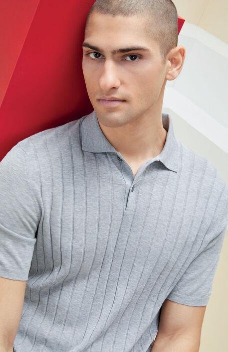 Grey melange short sleeved polo shirt in flat crepe cotton , Zanone | Slowear