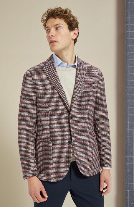 Single-breasted unlined jacket in red houndstooth wool , Montedoro | Slowear