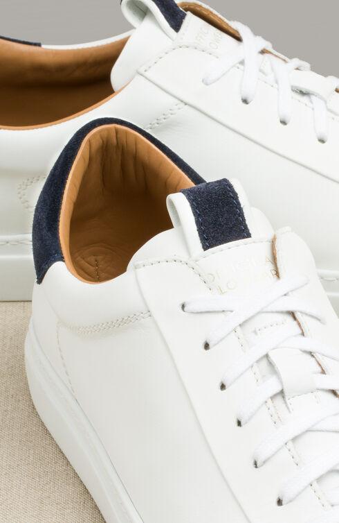 Leather trainers with dark blue suede details , Officina Slowear   Slowear