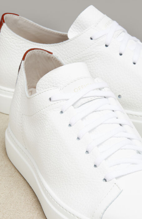 Hammered Calfskin Sneakers with Red Detail , Officina Slowear | Slowear