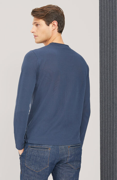 T-shirt manica lunga in IceCotton blu , Zanone | Slowear
