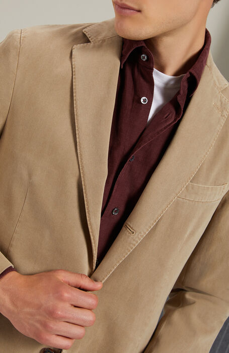Single-breasted unlined jacket in drill cotton and beige cashmere , Montedoro | Slowear