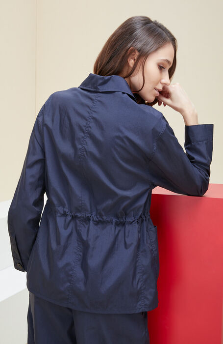Unlined jacket with drawstring in blue nylon with embossed effect. , Montedoro | Slowear
