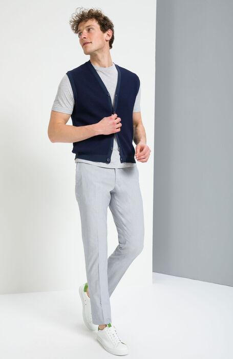 Slim Fit Cotton Trousers with Grey Micro Stripe Pattern , Incotex - Venezia 1951   Slowear