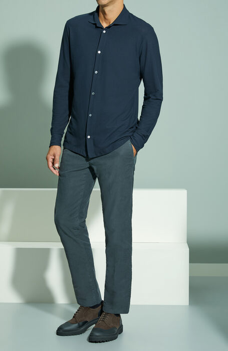 Slim fit dark grey stretch Tricochino trousers , Incotex - Slacks | Slowear
