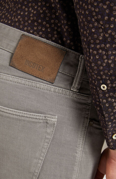 Grey slim-fit trousers in cotton bull , Incotex - Cinque Tasche | Slowear