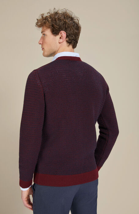 Lambswool burgundy and blue two-tone crewneck sweater , Zanone | Slowear