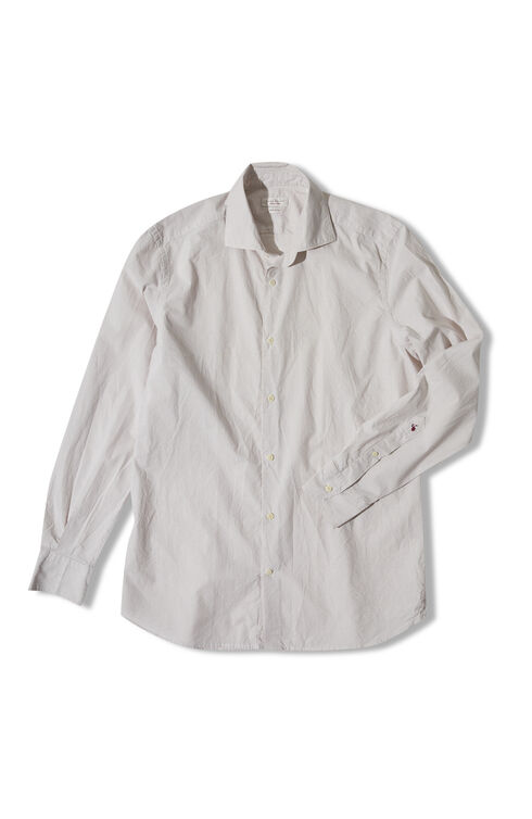 Slim-fit striped cotton and linen shirt with French collar , Glanshirt | Slowear