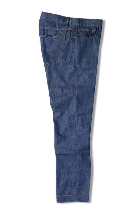 Five-pocket slim fit stretch denim trousers , Indigochino | Slowear