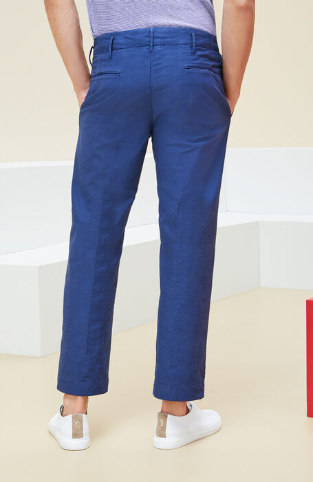 "Blue loose-fit ""Obliquino"" stretch trousers , Incotex - Verve | Slowear"
