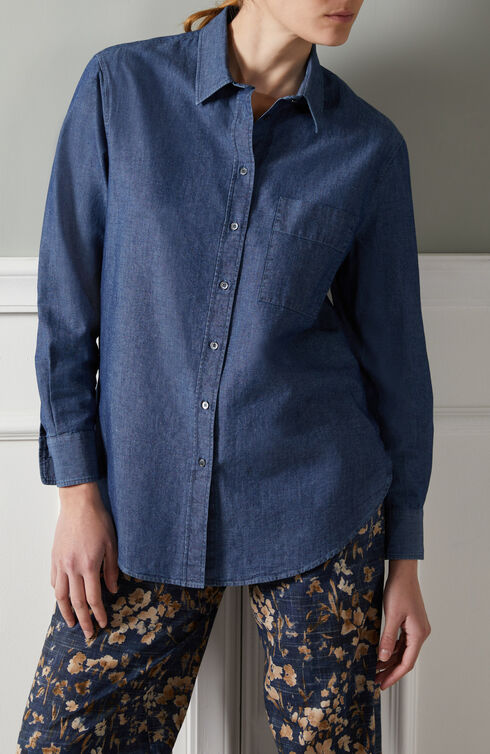 Oversized shirt in chambray denim , Slowear Glanshirt | Slowear