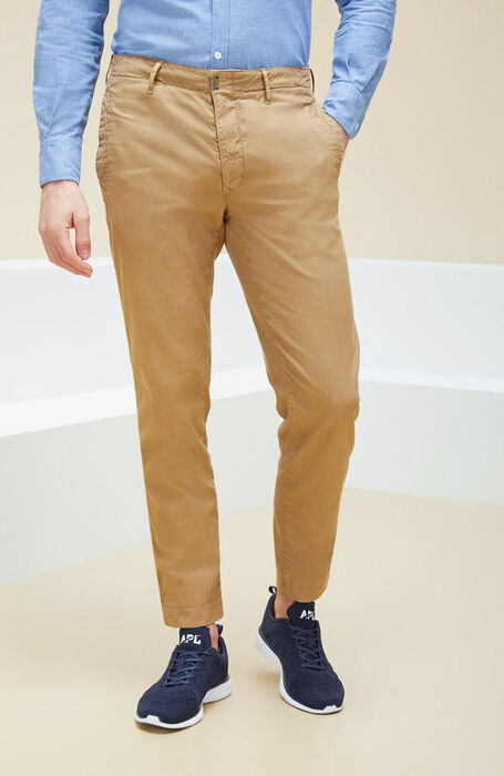 Walnut tapered-fit stretch cotton trousers , Incotex - Slacks | Slowear