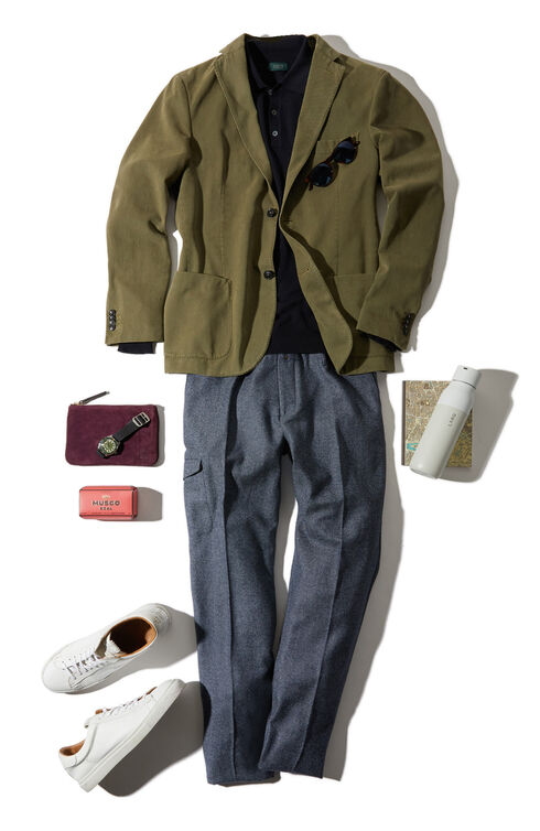 Tapered fit in cargo trousers in cotton twill and bouclé wool , Incotex - Verve | Slowear