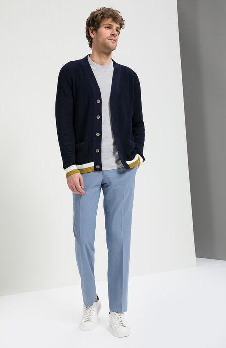 Light Blue Slim Fit Yarn-Dyed Cotton Crepe Trousers , Incotex - Venezia 1951 | Slowear