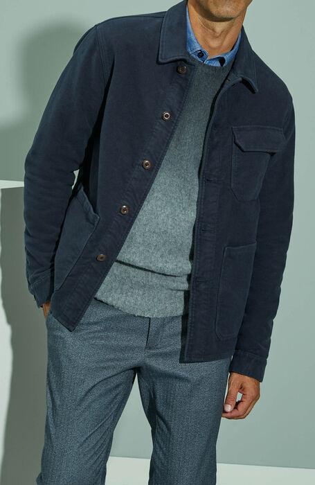 Unlined blouse in dark blue moleskin fabric , Montedoro | Slowear