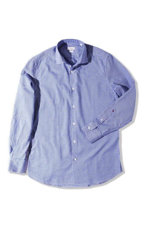 Slim-fit shirt with French collar in Oxford cotton poplin , Glanshirt | Slowear
