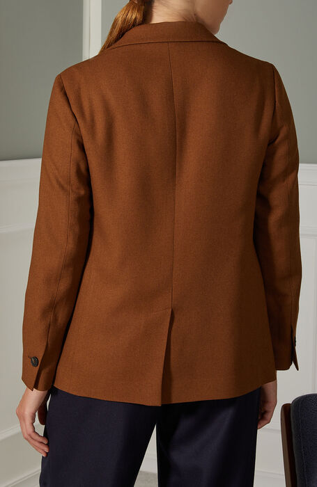 Single-breasted blazer in light brown viscose and wool , Montedoro | Slowear