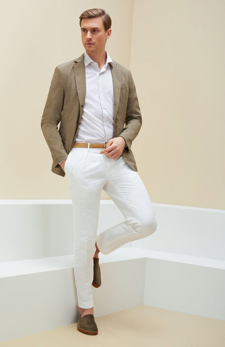 Beige slim fit shirt with French collar in cotton and linen , Glanshirt   Slowear