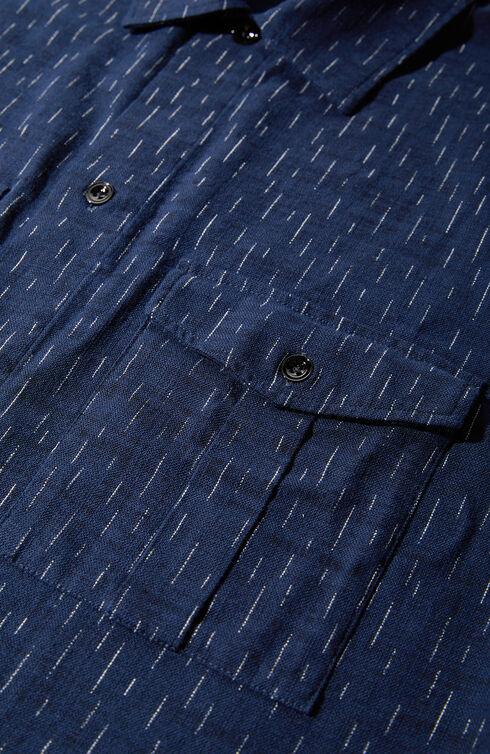 Regular fit cotton overshirt with Japanese-inspired print , Indigochino | Slowear