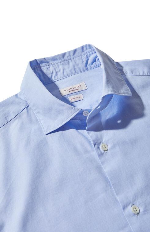 マイクロパターンコットン・フレンチカラー・スリムフィットシャツ , Glanshirt   Slowear