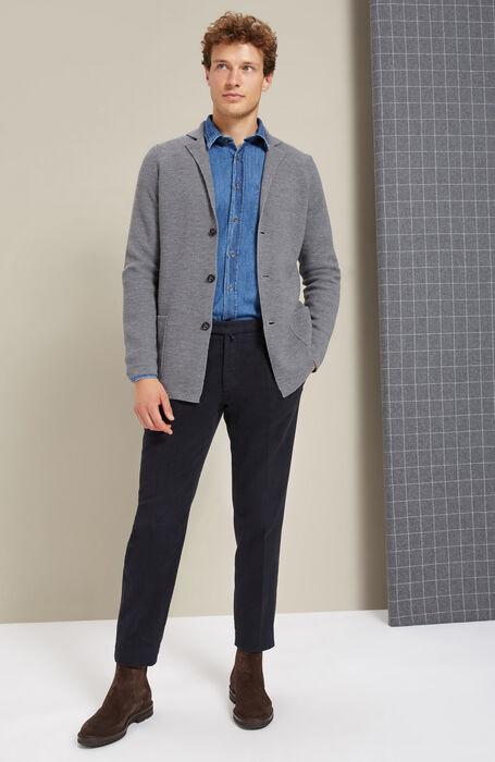 Pantalone tapered fit in Moleskin stretch blu scuro , Incotex - Venezia 1951 | Slowear