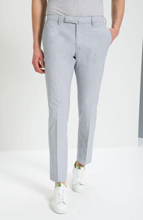 7790e85ee79a6f Slim Fit Cotton Trousers with Grey Micro Stripe Pattern , Incotex - Venezia  1951 | Slowear