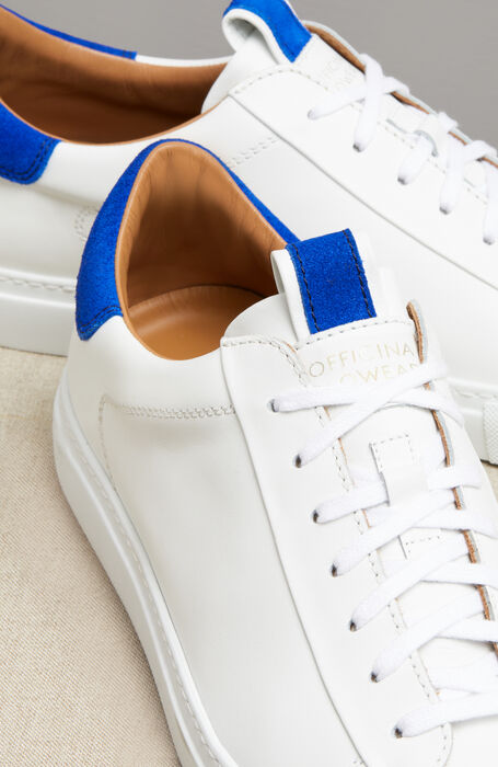 Leather trainers with blue suede details , Officina Slowear | Slowear
