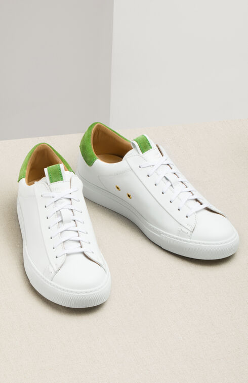 Leather trainers with green suede details , Officina Slowear | Slowear