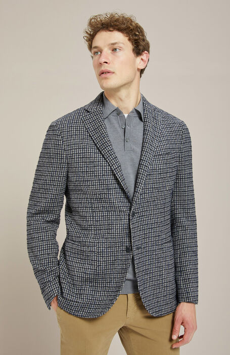 Unlined single-breasted jacket in blue houndstooth wool , Montedoro | Slowear
