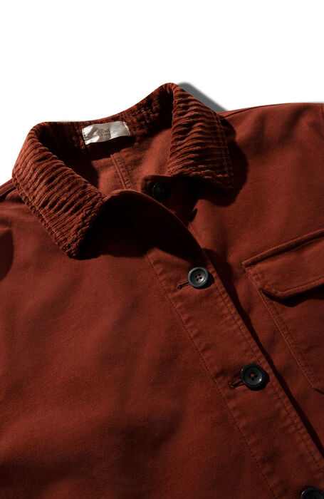 Unlined jacket in stretch moleskin with details in brick red French corduroy , Montedoro   Slowear