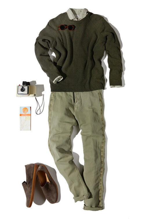 Slim-fit linen shirt with French collar , Glanshirt   Slowear