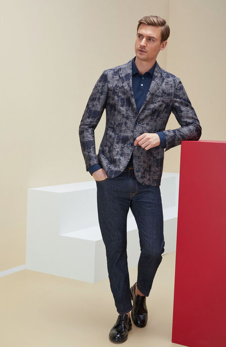 Single-breasted unlined jacket in linen and jacquard cotton , Montedoro | Slowear